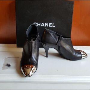 HOST PICK !!!!!Chanel CC silver cap toe booties